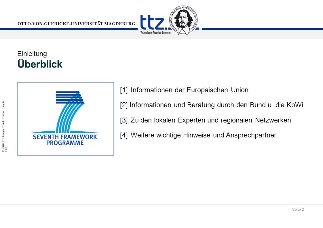 Überblick Einleitung [1] Informationen der Europäischen Union